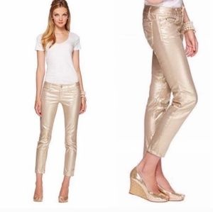 Lilly Pulitzer Pants - Lilly Pulitzer Worth Skinny Mini Gold Pants